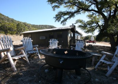 Outdoor fitpit and lounge area at the bunkhouse